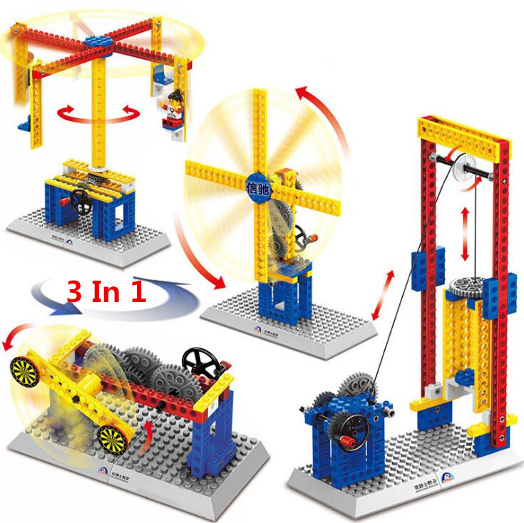 4styles hot sale Mechanical Building Blocks Children s font b Science b font Educational Toys freeshipping