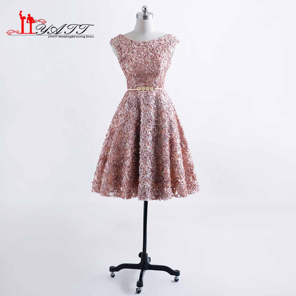 Elegant A Line Flowers   Cocktail     Dresses   2017 Formal Knee Length Party Prom Gown robe de   cocktail   Liyatt