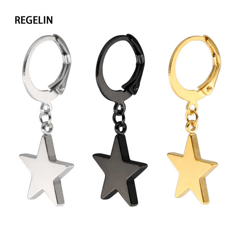 REGELIN Pentagrama Pingente Gota de Moda de Titânio de Aço Inoxidável Brincos Estrela de Cinco pontas-EarringsFor Mulheres Declaração de Jóias