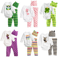 Newborn Baby Boys Girls Set Autumn Winter Bodysuit 3PCS Baby Romper Hat Pants Outfit Cotton Baby