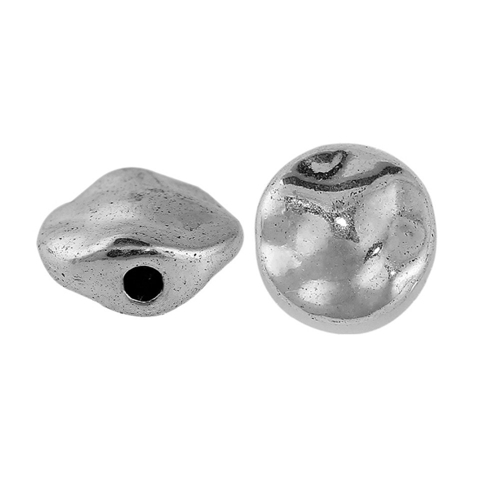 DoreenBeads Zinc Based Alloy Silver Color Spacer Beads Round DIY Components About 10mm( 3/8) Dia, Hole: Approx 1.8mm, 50 PCs