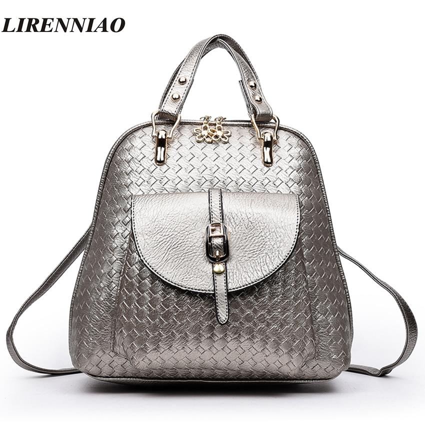 LIRENNIAO Brand Fashion Weave Backpack Hot Belts Backpacks For Teenage Girls School Bags Shell Backpacks High