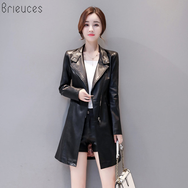 4f12cf3228a new Fashion Women Leather Jacket 2018 Spring Autumn PU Motorcycle Clothing  Long Leather Coat Plus Size 5XL With Cotton