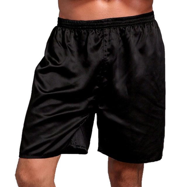Casual Men Silk Satin Shorts High Waist Elastic Sleepwear Shorts Sleeepwear Underwear Short NEW Pijama Masculino