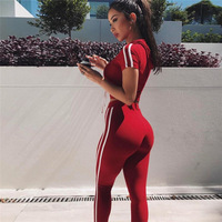 Fitness Women Sets Clothes Tracksuit Black Pants And Crop Top Suit Fashion Striped Hooded Sportswear 2017