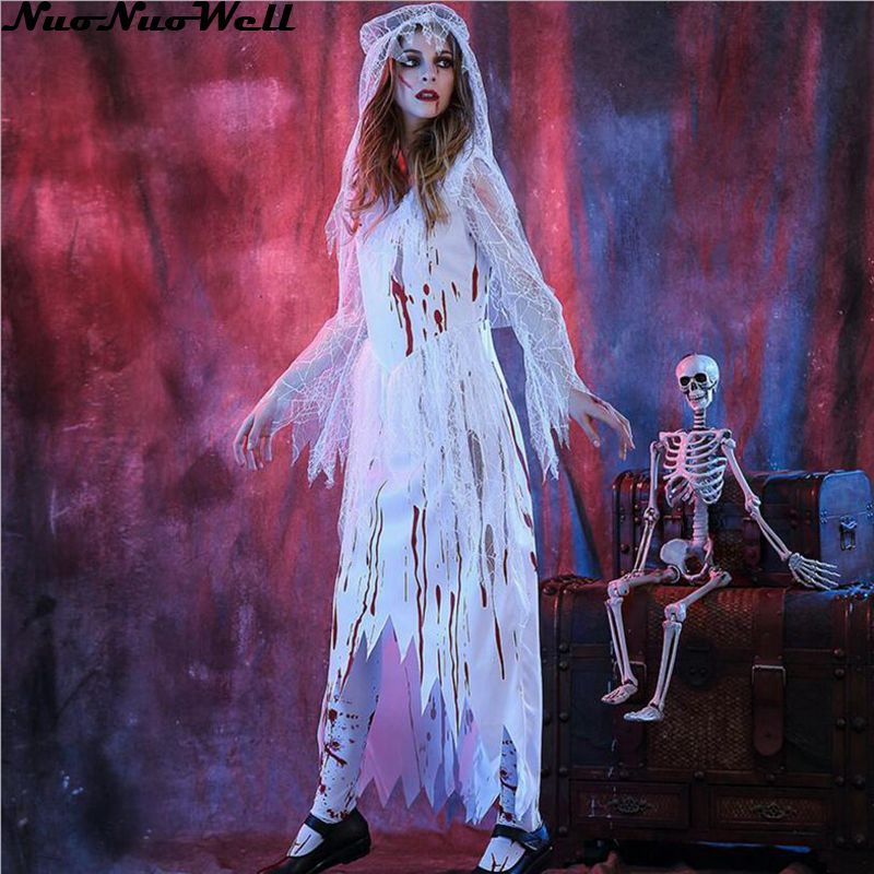 Halloween Scary White Bloody Mary Costume Cosplay Long Dress Halloween Theme Party Zombie Nurse New Arrival Ghost Bride Costume ...