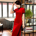 TIC-TEC women cheongsam long qipao chinese traditional oriental dresses red fashion print vintage evening elegant clothes P2945