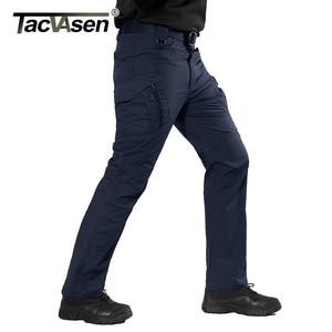 Image 1 - Tacvasen calças táticas dos homens da marinha multi bolsos rip stop carga calças de trabalho militar combate algodão calças airsoft exército caminhada