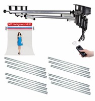 Studio 4 Roller Motorized Background Support Stand System + 4PCS 3M Metal Crossbar Kit for Photography Video Photo