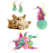 10 Pcs Pet Toy Latex Balls Colorful Chew For Dogs Cats Puppy Kitten Soft Feather