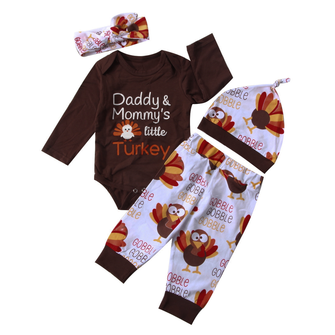 New Baby Girl First Thanksgiving Gobble One Piece Sizes 3 /& 9 Months Turkey