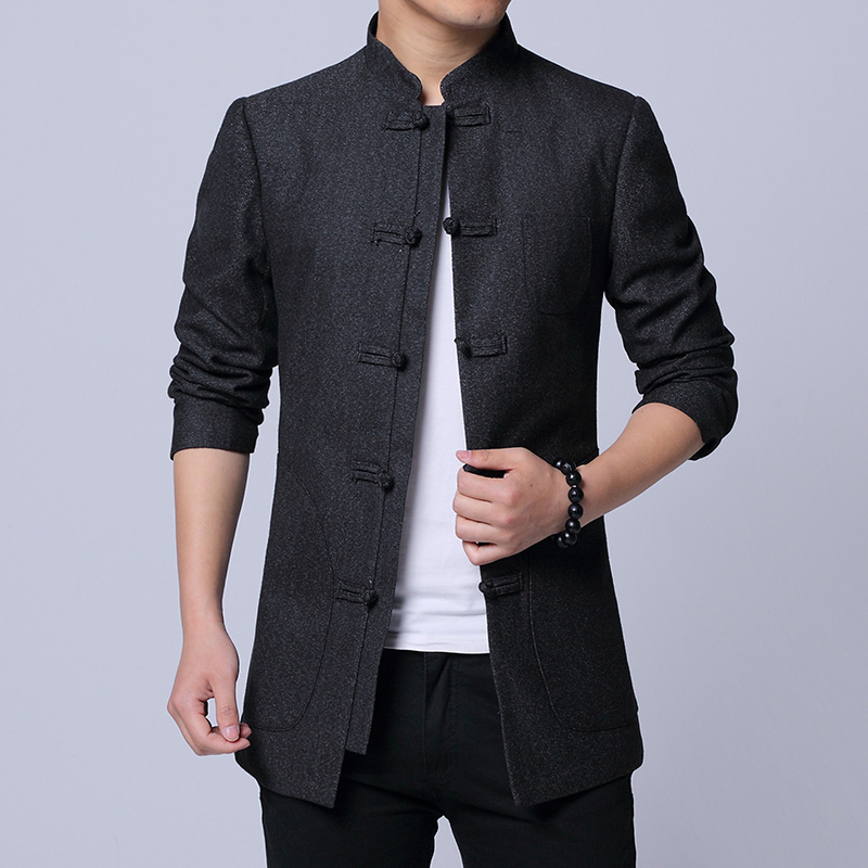 Quality Chinese Style Jacket Men Brand 2019 Spring Tang Zhuang Slim Fit Casual Men Jacket Classic Pan Kou mens jackets and coats