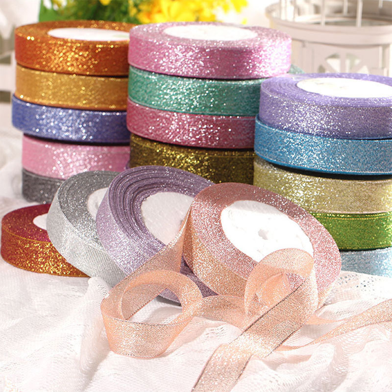 25 Yards Gold//Silver Organza Glitter Ribbons Christmas Party Supply Accessory