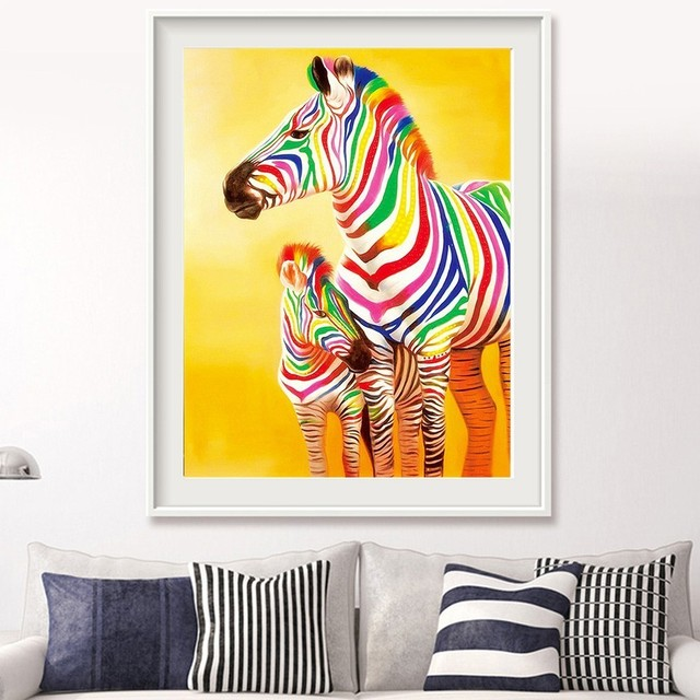 HUACAN 5D Diamond Painting Full Square Animal Color Zebra Embroidery Sale Picture Rhinestone Diamond Mosaic Home
