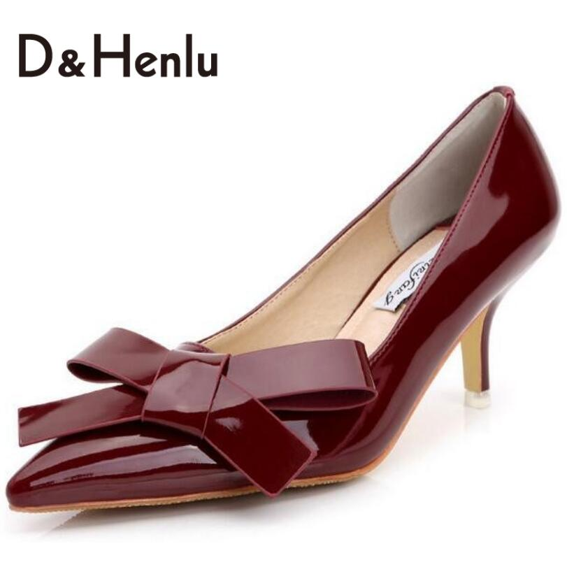 ФОТО {D&H}Plus Size Party Pumps Elegant Big Bow Wedding Shoes New Fashion Women Cozy Mid Heels Pumps  Shoes Woman