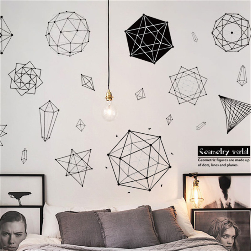 Creative geometry wall sticker classroom school office polygon study room living room removable stickers on the wall for home