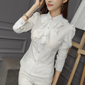 New Arrivals 2016 Korean Style Office Work Wear Fashion Elegant Ruffles Long Sleeve Women Blouses Bodysuit Shirt  JN185