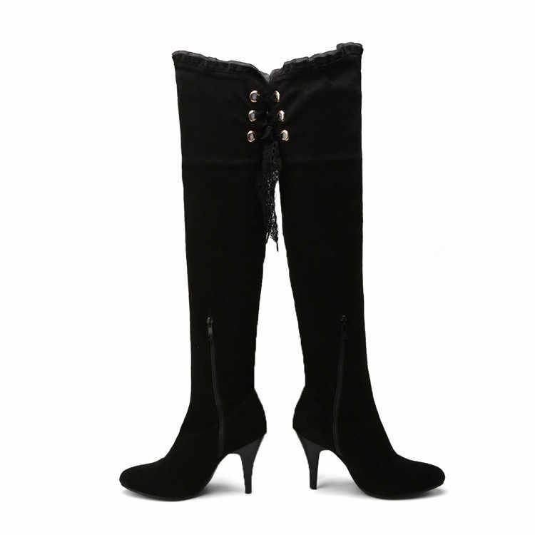 MLJUESE 2018 kadın diz üzerinde yüksek çizmeler sonbahar kış dantel up Riband siyah renk başak topuklu yüksek çizmeler boyutu 32-43