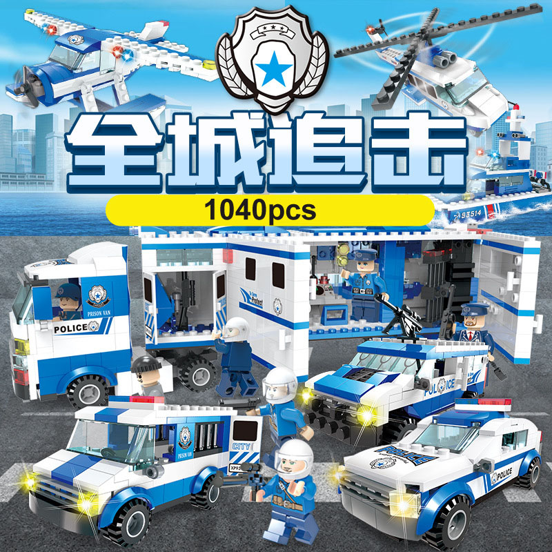 1040pcs City Police Station Building Blocks Bricks set Helicopter Jail Cell Compatible Lepin Building Blocks Toys For Children compatible lepin city blocks block police dog unit 60045 building bricks bela 10419 policeman toys for children