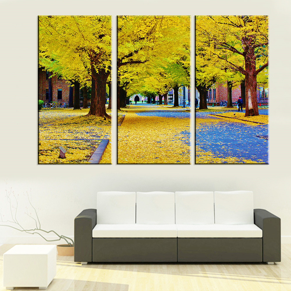 Unframed Canvas modular pictures Autumn Tree Landscape Oil Painting ...
