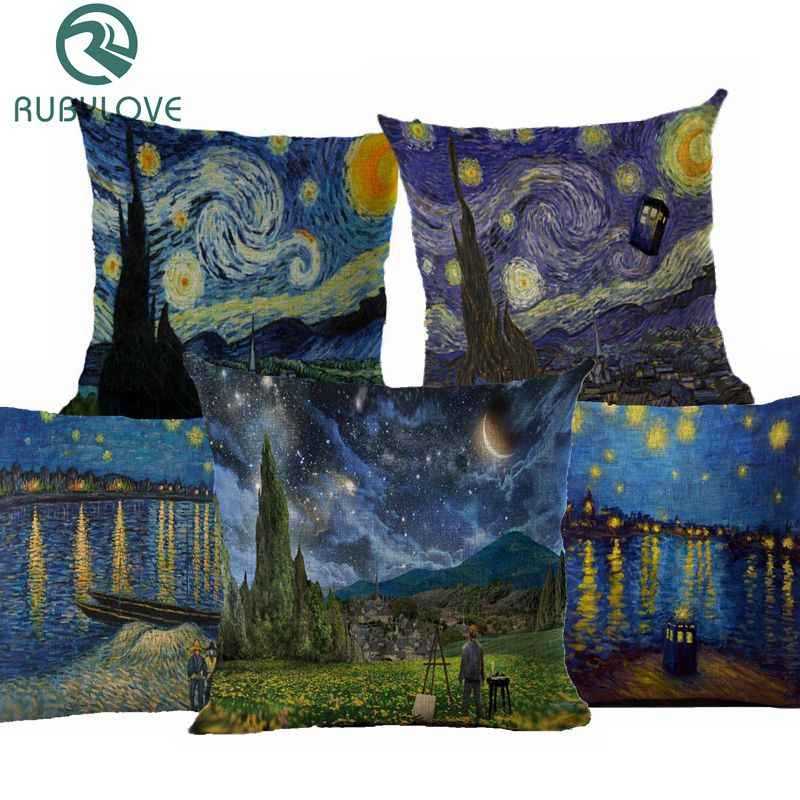 Van Gogh Oil Painting Style Cotton Linen Cushion Cover 45x45cm Pillow Case For Sofa Car Chair Gift Cojines