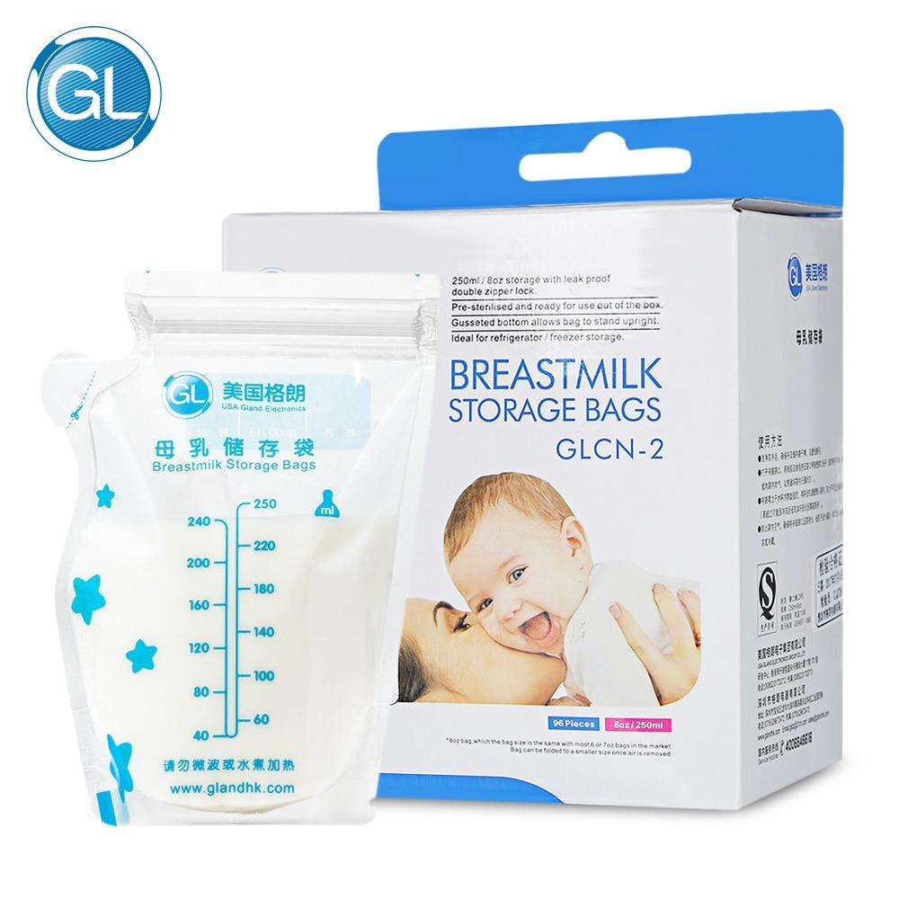 GL 96 Pieces Breast Milk Storage Bag BPA Free Baby food Safe Feeding Bags 250ml Milk Freezer Bags Mother Milk Baby children Food