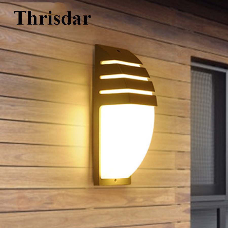 Thrisdar 6W 12W Waterproof Garden Porch Wall Light Outdoor Hotel Aisle Corridor Wall Lamp Aluminum Villa Fence Balcony Wall Lamp thrisdar 20w ip65 waterproof wall lamps 40leds outdoor garden porch wall sconce lamp corridor garden hotel pathway porch light