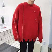 2017 Winter New Men's Chic Simple Solid Color Knitting Unlined Upper Garment Holes Pullovers Loose Casual Knitted Sweaters M-2XL
