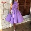 Beautiful Short Prom Party Dresses High Neck Satin A-Line Lace Purple Coctail Dress Robe De Cocktail Dresses