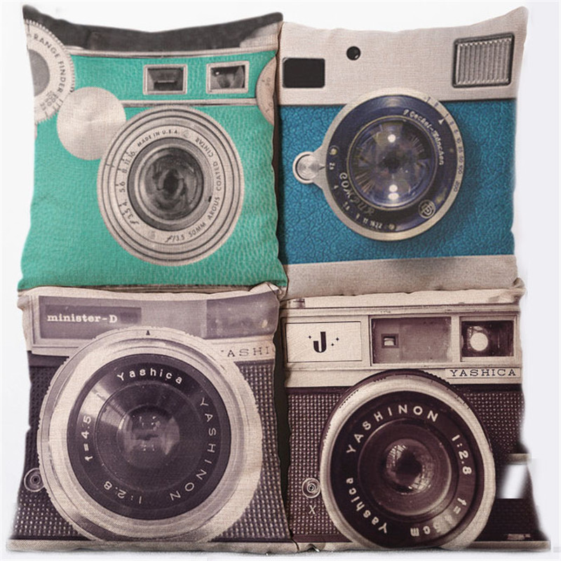 45cm * 45cm Hot Vintage Cushion Cover Camera Composite Linen Retro Throw Pillow Case For Office Car Drawing Room Cojines