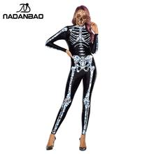 NADANBAO Crystal Skeleton Costumes Scary Purim Carnival Costume For Women Cosplay Bodysuits Elastic Catsuits