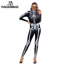 Nadanbao Crystal Skeleton Kostuums Scary Purim Carnaval Kostuum Voor Vrouwen Cosplay Bodysuits Elastische Catsuits