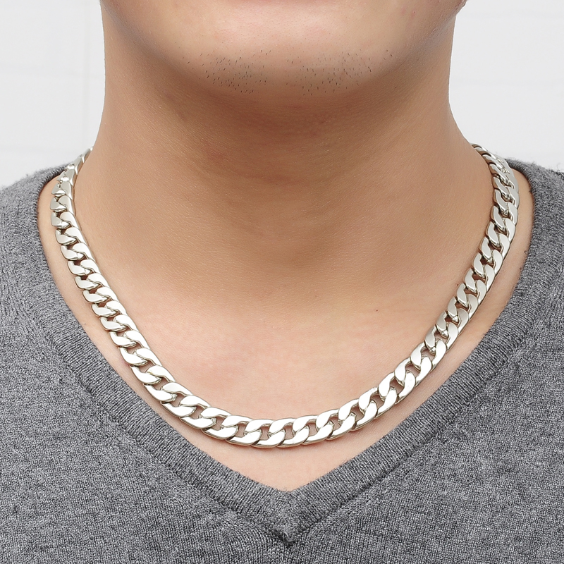 New Brand Cool Men Necklace Alloy Silver Smycken Vintage Link Chain - Märkessmycken