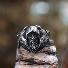 Mens Viking Odin Raven Stainless Steel Ring Norse Mythology Amulet Rings Scandinavian Talisman Jewelry