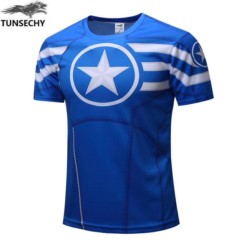 TUNSECHY 2018 Marvel Captain America Super Hero T-shirt Men fitness clothing short sleeves T-shirt Wholesale and retail XS-4XL