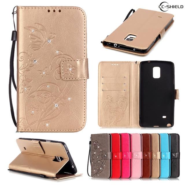 Flip Case for Samsung Galaxy Note 4 Note4 N910C N910F N910U N910V SM-N910C SM-N910U SM-N910F SM-N910V Leather Diamond Phone Case