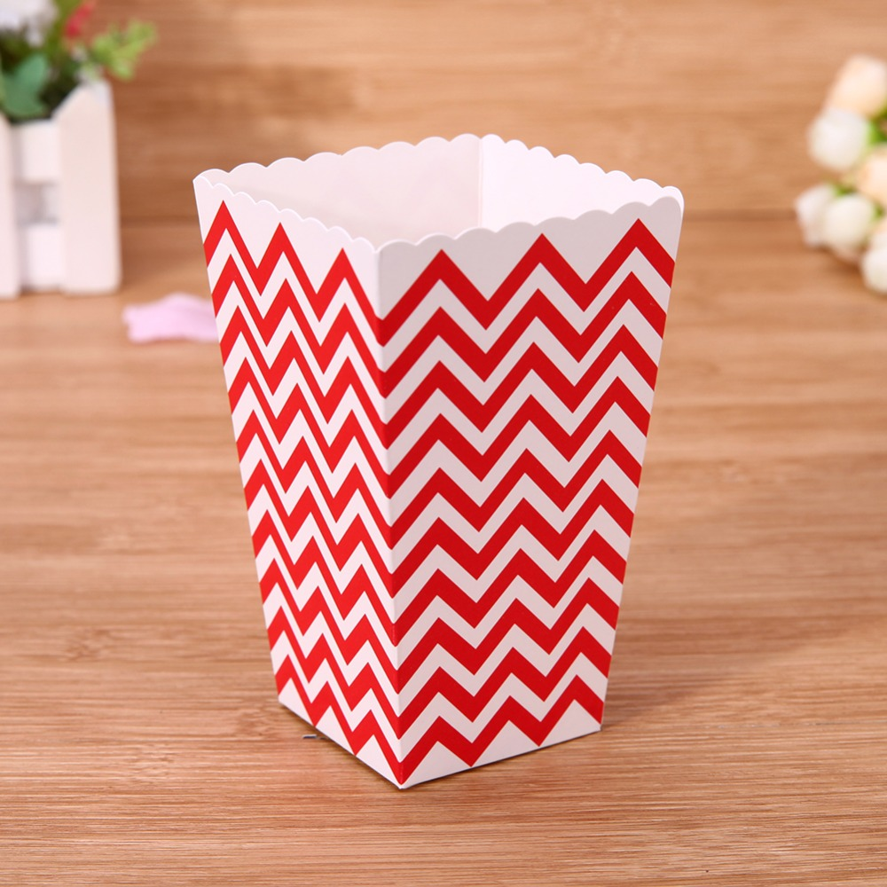 12pcs Multi-color Waves&Spots pattern Paper Popcorn&Candy Box Wedding Birthday Movie Party Supplies Candy Snack Favor Bag