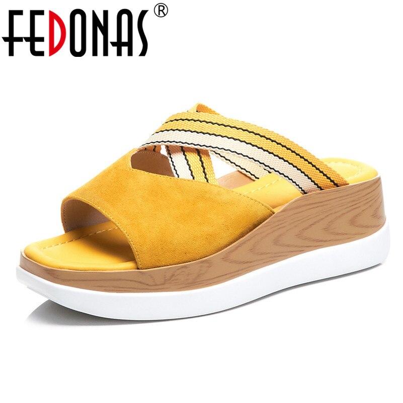 FEDONAS ฤดูร้อนแฟชั่นหนังนิ่มผู้หญิงรองเท้าแตะสบายๆสบายๆรองเท้าผู้หญิงรอบ Toe รองเท้าสตรี 2019 รองเท้าแตะใหม่-ใน รองเท้าส้นสูง จาก รองเท้า บน   1