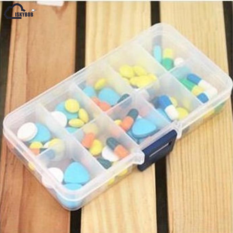 ISKYBOB Nice Plastic 10 Slots Adjustable Jewelry Box Case Craft Organize Bag