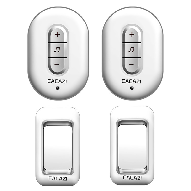 CACAZI Wireless Doorbell 2 waterproof buttons+2 plug-in receivers AC 110-220V 280M remote door bell 48 rings 6 volume door chime plaid plus size tunic top
