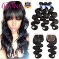 8A Unprocessed Virgin Brazilian Hair With Closure 4Pcs/Lot Lace Closure With Bundles Hanne Hair Brazilian Body Wave With Closure