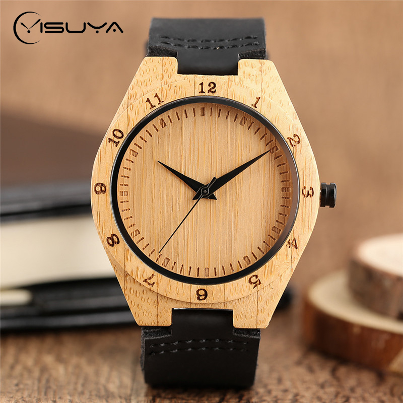 YISUYA Luxury Minimalist Natural Bamboo Wood Watch Handmade Wristwatch Mens Black Leather Band Analog Quartz Clock Gift Relojes hand made mens wooden bamboo quartz watch black genuine leather watchband simple unique modern wristwatch gift for male female