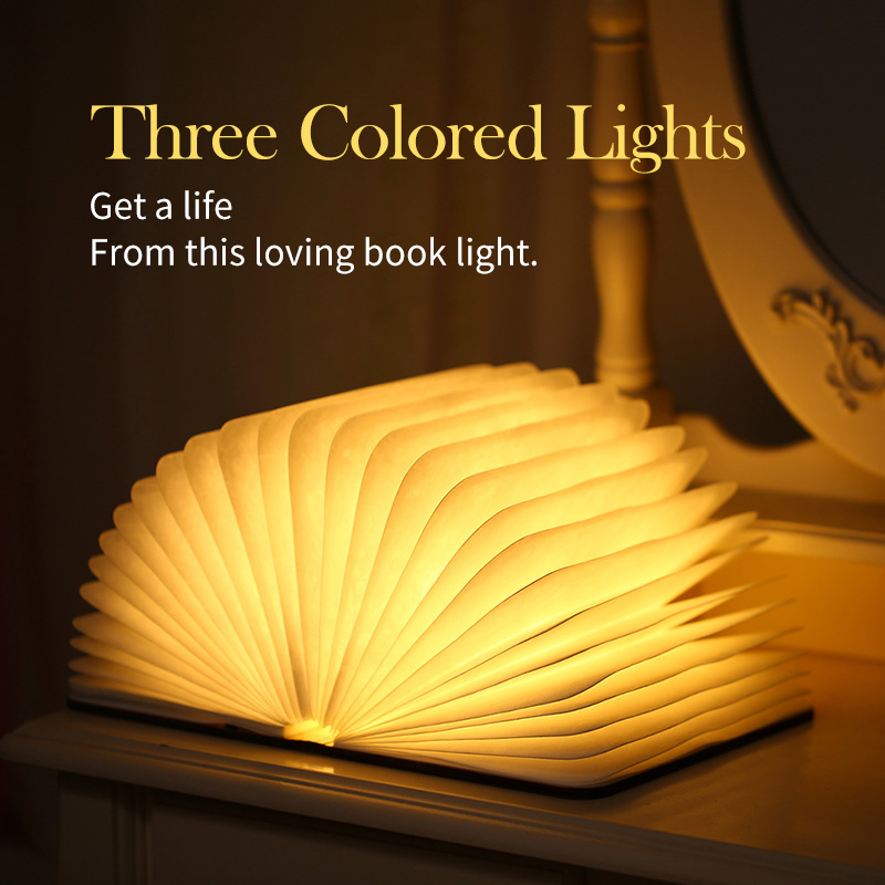 Folding Book Light LED NightUSB Port Rechargeable Wooden Magnet Cover Home Table Desk Ceiling Decor Lamp 3 Color Big Size novelty 3d full moon lamp led night light usb rechargeable color changing desk table light home decor 8 10 12 15 18 20cm
