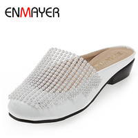 ENMAYER Summer Women Beach Shoes Cut Outs Rhinestone Flats Shoes Woman Breathable Slip On Black White