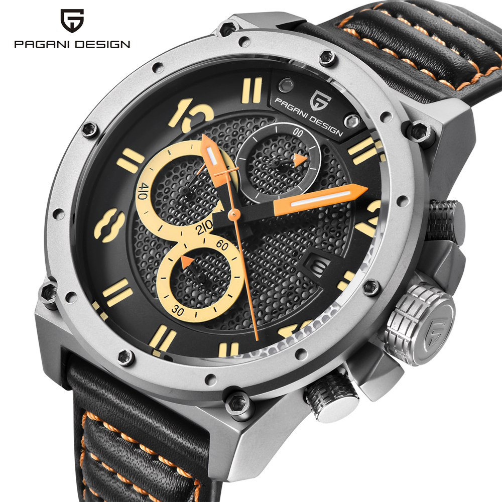 PAGANI DESIGN Chronograph Sport Watch Men Luxury Brand Quartz Military Leather Men Wrist Watch Clock Male relogio masculino Saat genuine curren brand design leather military men cool fashion clock sport male gift wrist quartz business water resistant watch