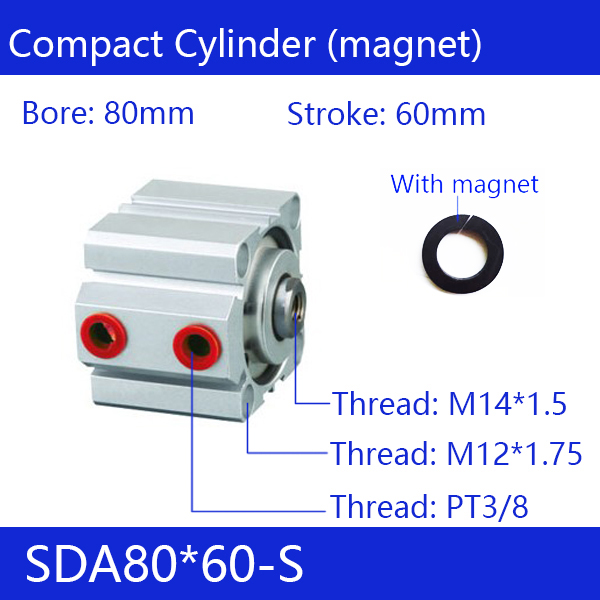 SDA80*60-S Free shipping 80mm Bore 60mm Stroke Compact Air Cylinders SDA80X60-S Dual Action Air Pneumatic Cylinder sda80 60 free shipping 80mm bore 60mm stroke compact air cylinders sda80x60 dual action air pneumatic cylinder