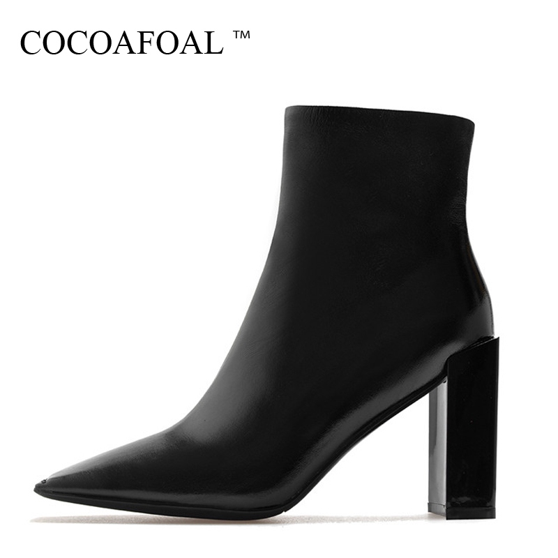 COCOAFOAL Woman Genuine Leather Chelsea Boots Fashion Sexy 9 CM High Heel Shoes Black Patent Leather Autumn Winter Boots 2018 cocoafoal woman genuine leather ankle boots autumn winter 9 cm high heel shoes black apricot fashion sexy pointed toe boots 2018