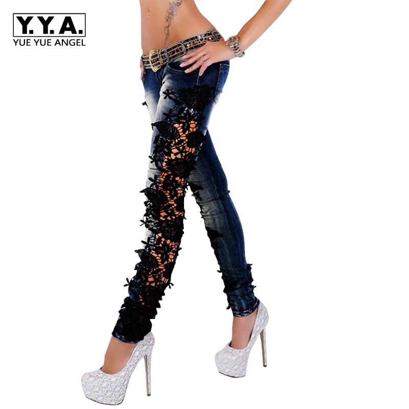 Fashion Women Jeans Pants Ladies Lace Crochet Floral Splice Low Waist Skinny Jeans Hollow Out Casual Women's Denim Pencil Pants туши isadora тушь для ресницall day long lash 20 8мл