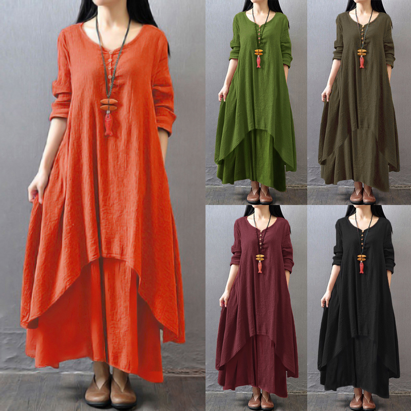 EaseHut Vintage Women Casual Loose Dress Solid Long Sleeve Boho Ethnic Autumn Long Maxi Dresses Plus Size Retro vestido mujer 4