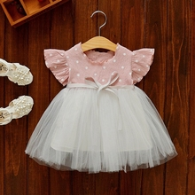 vestidos Summer Baby Girls Short Sleeve O Neck Polka Dot Patchwork Mesh Bow Princess Party Tutu Ball Gown Kids Dress